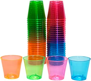 Party Essentials N15090 Plastic Shot Glasses, 50-Count, Assorted Neon