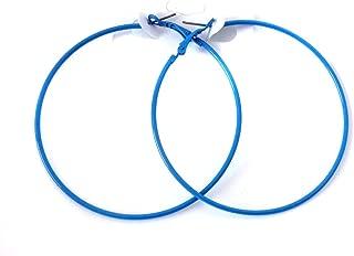 Blue Hoop Earrings Thin Hoop Earrings 2.75 Inch Hoop Earrings