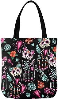 InterestPrint Indian Hand Drawn Hamsa Symbol Canvas Tote Bag Handbag for Women