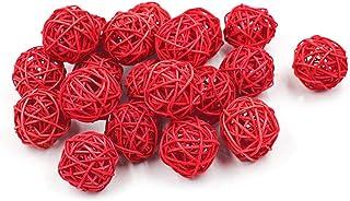 20 bolas de mimbre natural de ratán para colgar en la mesa o en la fiesta 7 cm color rojo
