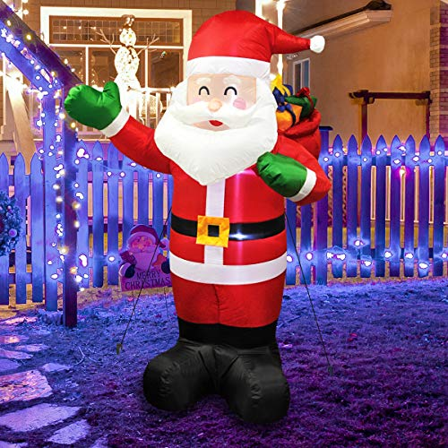 MerryXGift Christmas Inflatable Santa Claus 6ft - Xmas Airblown Inflatable Santa Blow up Decorations with Gift Bags for Yard Outdoor Garden Lawn
