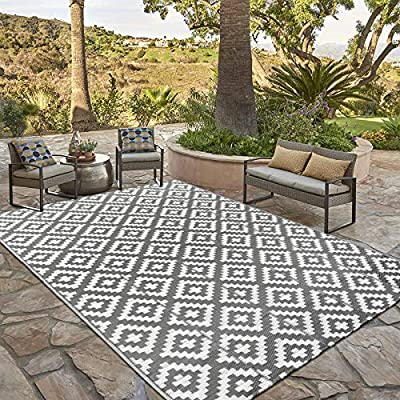 HEBE Reversible Mat, Fade Resistant Plastic Straw Rug, Indoor Outdoor Plastic Patio Rug, Lightweight Stain Proof Area Carpet for Patio, RV, Camping, Beach, Deck, Backyard and Picnic (6'x9', Grey) from HEBE