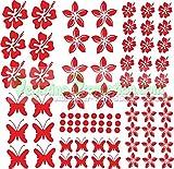 Pegatinas Hibiscus 'Flores y Mariposas', de color rojo; set de 75unidades. Art. NB-0169-IT