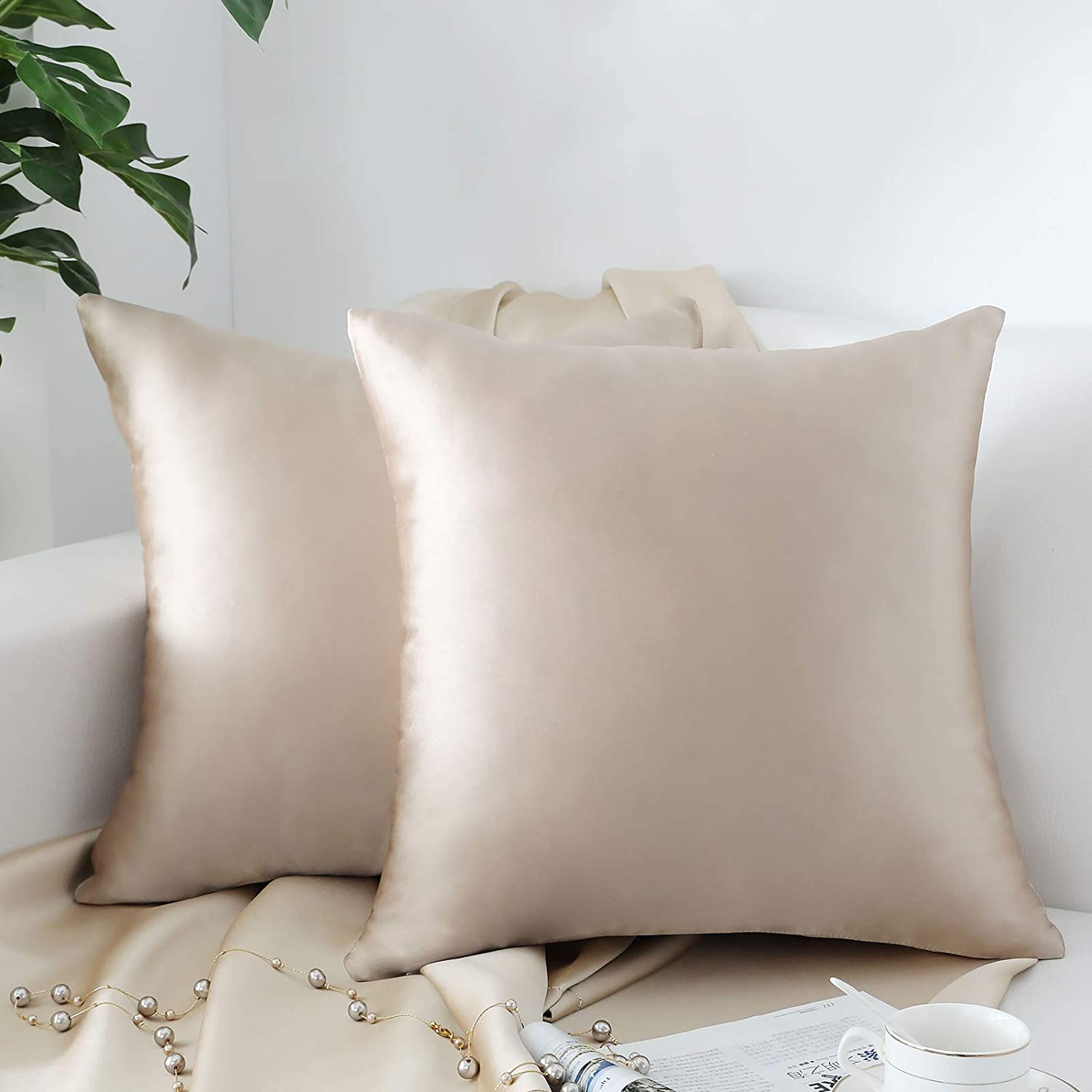 QOPOYU Pack Super sale period limited of 2 Decorative Faux Cheap bargain Set Sl Pillow Silk Throw Covers