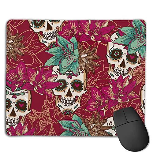Alfombrilla de ratón Cool Skull and Flower Rectangular Mousepad Antideslizante Gaming Mouse Pad Mouse Mat 25X30CM
