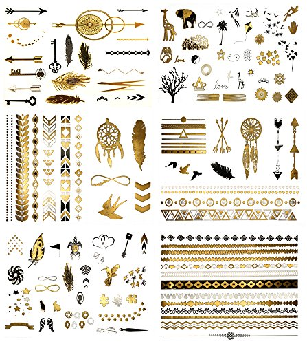 Terra Tattoos Temporary Tattoos - Over 125 Minimalist Metallic Tattoo Designs in Gold, Black and Silver (6 Sheets), Addison Collection