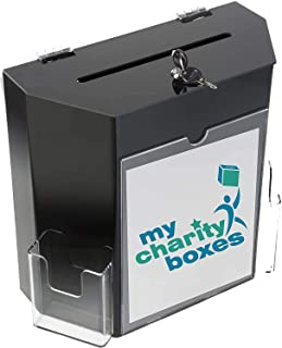 Acrylic Ballot and Suggestion Or Donation Collection Box w/Display Frame, Lock & 2 Pockets, Wall mounting or Tabletop