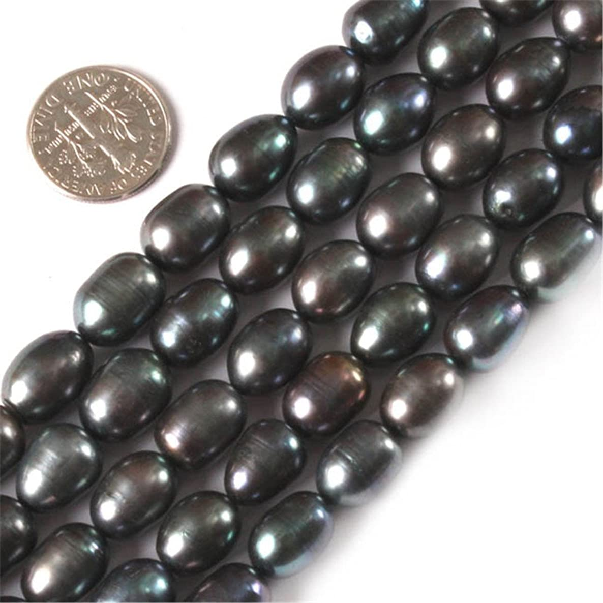 GEM-inside Black Freshwater Cultured Pearl Gemstone Loose Beads Energy Power Beads For Jewelry Making Potato Shape 9-10x10-12mm 15