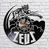 wtnhz LED-Reloj de Pared con Estatua de Zeus, Reloj de Vinilo Vintage, decoración de la mitología Griega, decoración de la Escultura de Zeus, Estatua de Dioses griegos, Regalo para Hombres
