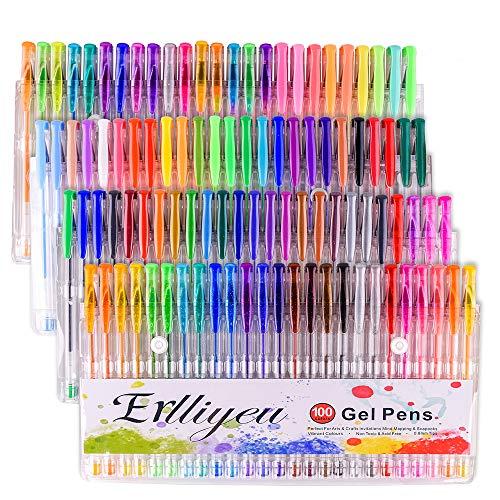 Juego de bolígrafos de gel con purpurina, 100 colores surtidos, metálicos, neón, purpurina, bolígrafo de gel con purpurina, para adultos dibujar marcas de arte