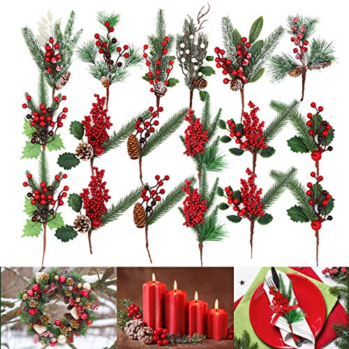 Christmas Picks, West Bay 18 Pack 12 Style Artificial Assorted Red Berry Picks Stems Faux Pine Picks Spray with Pinecones Apples Holly Leaves for Christmas Floral Arrangement