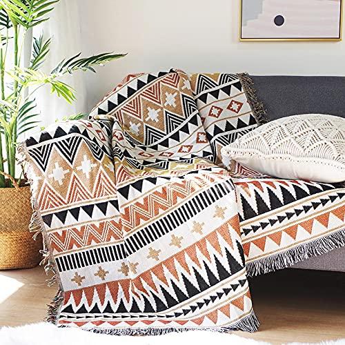 DANDAR Funda de sofá cubierta de polvo cubierta sofá manta sala de estar estilo bohemio sofá y sillón en ambos lados de diferentes patrones geométricos picnic Mat cubierta completa decoration90*150cm