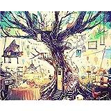 L.L.QYL Malerei Leinwand Big Tree-Digital-Ölgemälde DIY Kreative Abstrakt reines handgemaltes