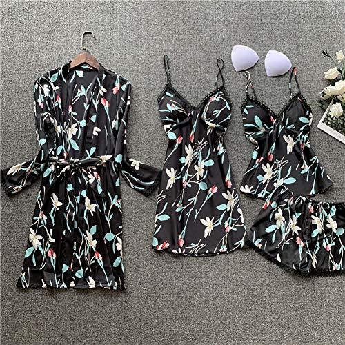 Dames Pyjama,Vrouwen Satijn V-Hals Kamerjas Set Nachtkleding Vrouwelijke Sexy Lingerie Mouwloze Nachtkleding Zijden Bloemenprint Pijama Borstkussens PyjamaHomewear Suits