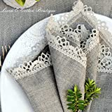 Linen & Cotton 4 x Luxus Stoffservietten Celeste, 100% Leinen – 39 x 39cm (Natur/Grau/Beige) - 3