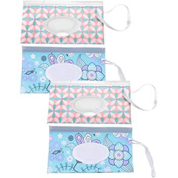 Exceart 4pcs Wet Wipe Pouch Travel Wipes Holder Case Reusable Refillable Clutch Baby Wipes Dispenser Holder For Travel Outdoor