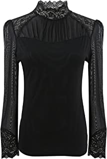 JNTworld Ladies Sheer Lace Long Sleeve High Collar Lining OL Business T Shirt blouse Top