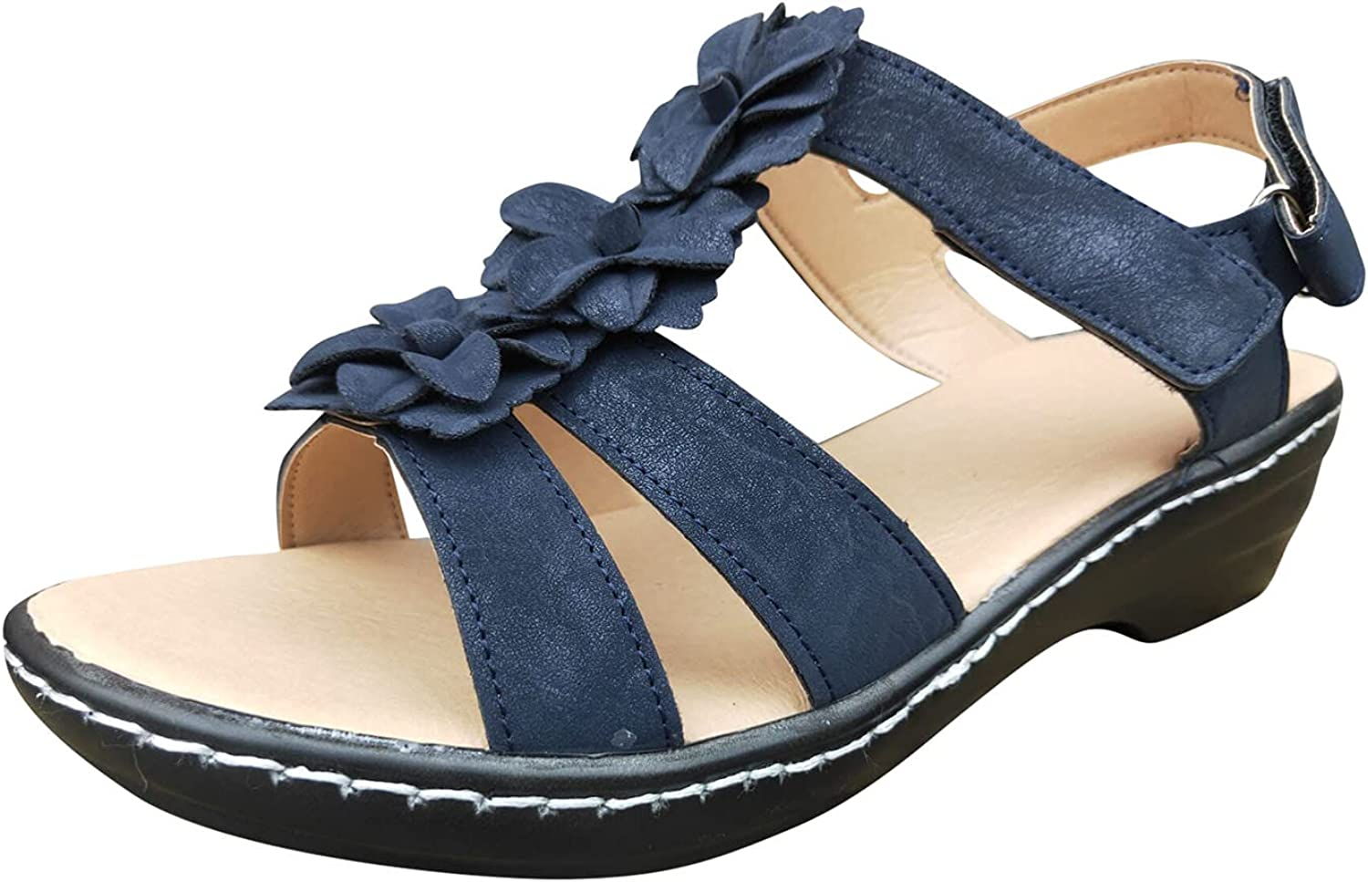 USYFAKGH Wedges Sandals For Women Flat Sandals For Women Summer Women's Fashion Summer Hollow Wedge Fish Mouth Flower Casual Comfortable Sandals White,Blue,Gold