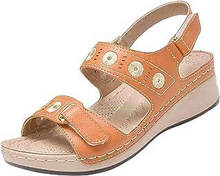 Damessandalen met sleehak, riempjessandalen, geborduurde schoenen, met borduurwerk, slingback, open teen, sleehak, zomer, ...