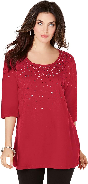 Roaman's Women's Plus Size Three-Quarter Sleeve Embellished Tunic Long Shirt