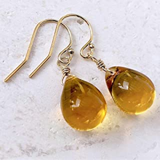 Golden Honey Amber Wire Wrapped Glass Drop Earrings Gold - Jewelry For Women