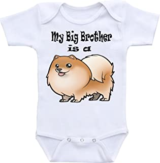 Unisex My Big Brother is A Pomeranian Dog Funny Baby Onesie Bodysuit