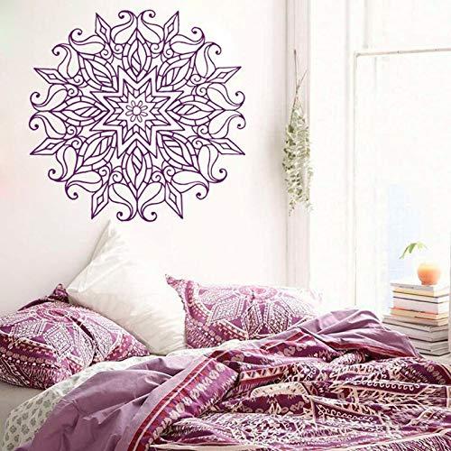 HNXDP Mandala marokkanische Verzierung Vinyl Wandtattoo Namaste Indian Circle Geometrische Wandtattoos Yoga Bohemian Home Decor Wandbilder X711 57x58cm