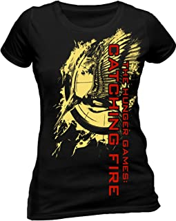 The Hunger Games Catching Fire Women's Foil Print Flaming Pin Short Sleeve T-Shirt, Black