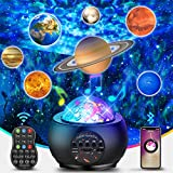 Galaxy Night Lights Projector - Upgraded 3in1 LED Starry Planet Projector w/Ocean Wave Nebula&Bluetooth Music Speaker Star Night Lights for Kids Bedroom/Living room Ceiling,Timer/Remote Control, Black