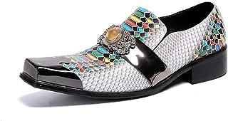 YIZHIYA Chaussures en Cuir Pointues pour Hommes,Chaussures de marié en Cuir véritable Chaussures d'uniformes habillées Hom...