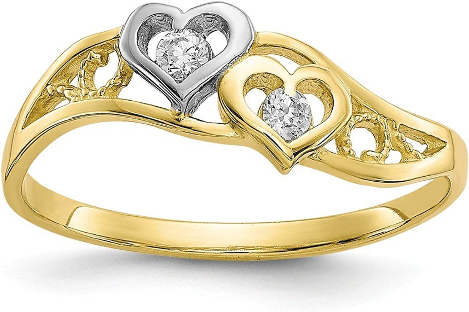 Beautiful rhodium plated gold and silver 10K rhodiumplatedgoldandsilver 10k & Rhodium Double Heart CZ Ring