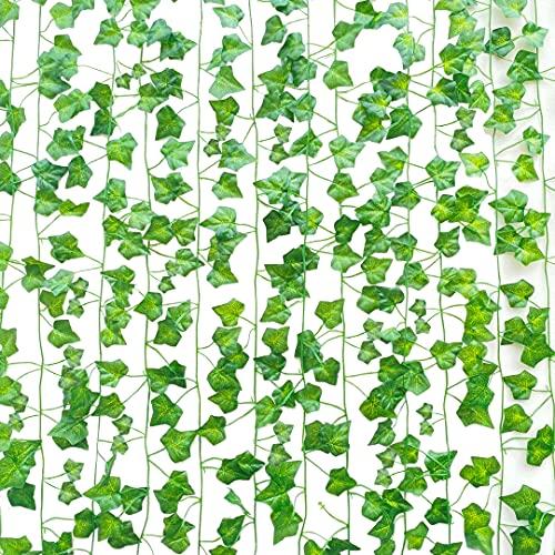 SOMONEY 15 paquetes de 105 pies Plantas Hiedra Artificial Decoración Interior y Exterior Guirnalda...