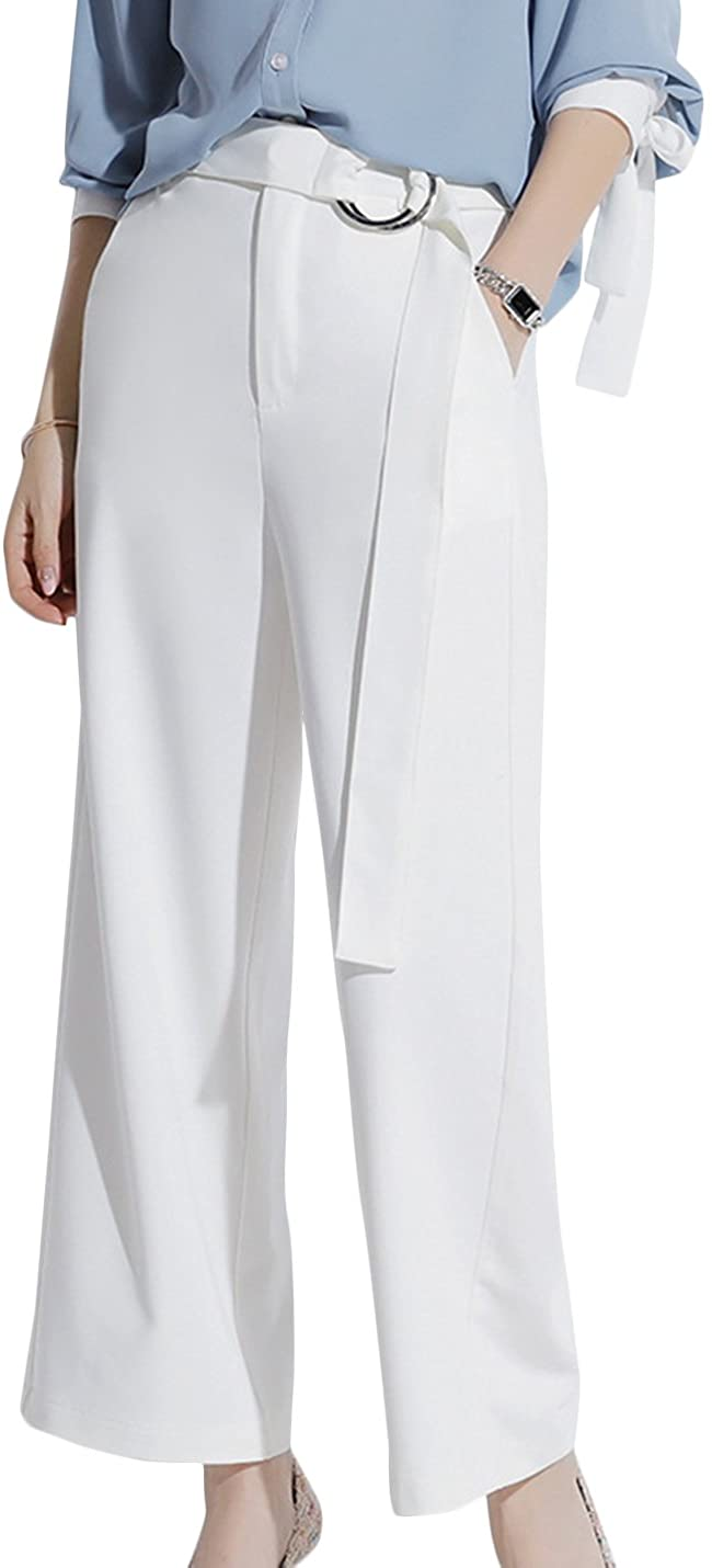 Uaneo Women's High Waisted Zip Up Long Pants Casual Palazzo Pants with Waistband (X-Small, White)