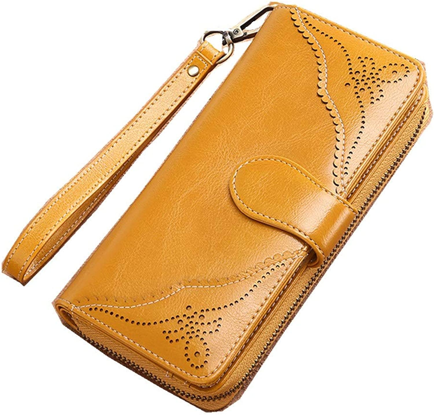 Women's Wallet Women's Leather Wallet Long Zipper Wallet Purse Bag Lady Large Capacity Bag Fashion Personality to Send A Good Friend Gift Splicing Large Capacity Wallet (color   Yellow)