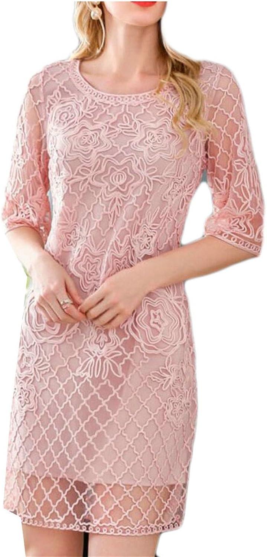 Omniscient Women's Mesh Elegant Short Sleeve Sexy Embroidered MidLength Fashion Dresses