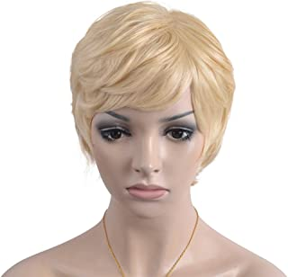 eNilecor Short Hair Wigs Pixie Cut Light Blonde Natrual Curly Wigs for Women with Side Bangs Trendy Synthetic Wig with Wigs Cap (7.8