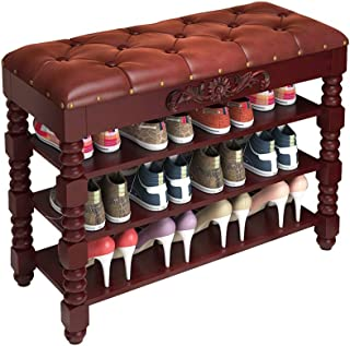 ZXJshyp Shoe Bench 3-Tier Shoe Rack Solid Wood Storage Shoe Shelves with Foam Padded Seat for Entryway Shoes Storage Organ...