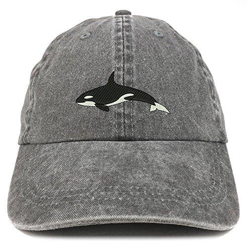 Trendy Apparel Shop Orca Killer Whale Embroidered Pigment Dyed 100% Cotton Cap - Black
