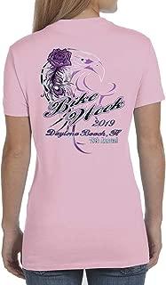 Womens Pink Daytona Bike Week 2019 Biker Crew Tee Shirt