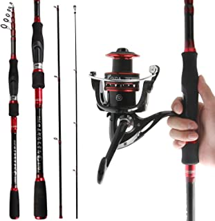 REAWOW Fishing Rod and Reel Combos Portable Carbon Fiber Telescopic Deep Sea Fishing Rod with Spinning Reels for Bass 2-Pieces for Travel