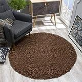 SANAT Teppich Rund - Dunkelbraun Hochflor, Langflor Modern Teppiche fürs Wohnzimmer, Schlafzimmer, Esszimmer oder Kinderzimmer, Größe: 120x120 cm