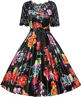 Lazapa Vintage Dresses for Women, Boho Floral Vacation Tunic Dress Crewneck Lace Short Sleeve Stitching Print Skirt Fall Retro Evening Dress