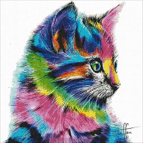 Mengzhifei - Pintura de diamante de resina para gato, diseño de cubo de Rubik, diamante completo