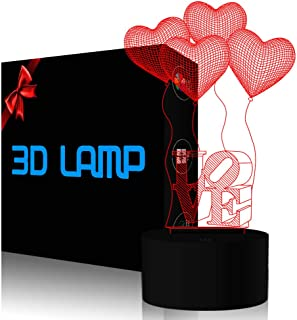 Love Heart 3D Night Light Illusion Lamp YKL WORLD Touch 7 Color Changing Toy Bed Room Table Decor Birthday Mothers Day Gifts for Kids Baby Mother