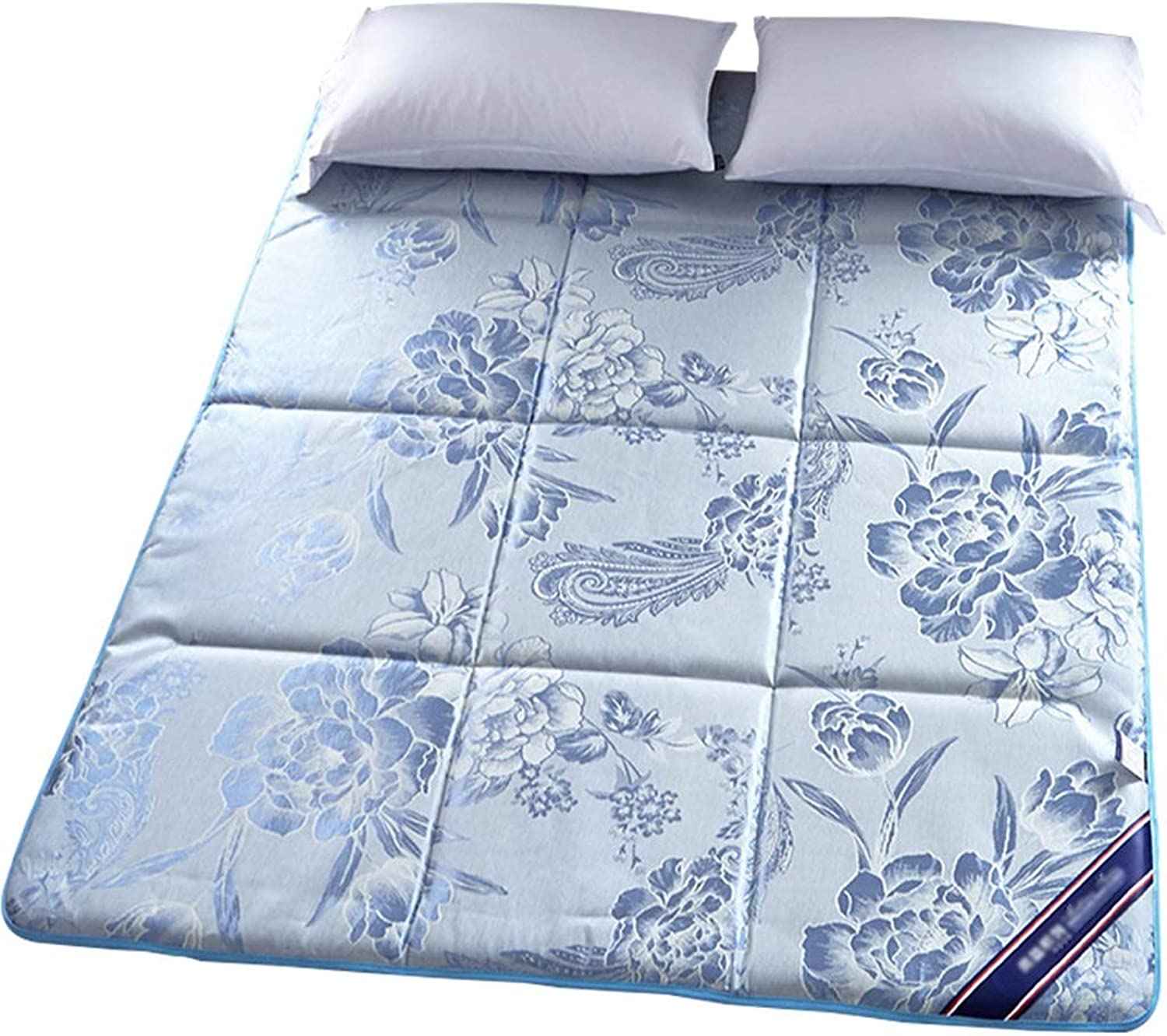 Mattress Topper Pad Summer Cool Ice Silk Breathable Non-Slip Predection Pad Thin Bed Pad Floor Mat (color   bluee, Size   0.9×2m)