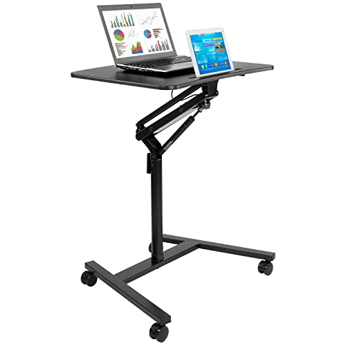 Mount-It! Mobile Standing Laptop Desk, Height Adjustable Rolling Sit Stand Workstation with