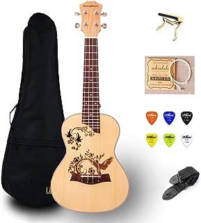 23 inch Ukulele Concert Mini Guitar Ukelele with Bag Capo 4 String Strap Picks Hawaii Guitar UKU Gift Mahogany UK2319A