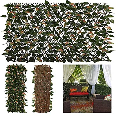 GLANT Expandable Fence Privacy Screen for Balcony Patio Outdoor,Decorative Faux Ivy Fencing Panel,Artificial Hedges (Single Sided Leaves) (2, Green-Pink)