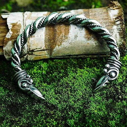 NC110 Cabeza de Cuervo Pulsera de Cuervo Mitología nórdica s Anillo de Brazo de puño Vintage Amuleto de Animal Joyería pagana Fresca Regalos para Hombres y Mujeres