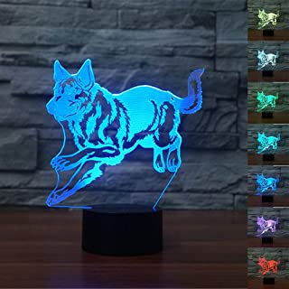 German Shepherd 3D Led Lamp,Abstractive Optical Illusion Night Light,7 Color Change,Touch Switch USB Powered,Birthday Christmas Cool Gift for Child